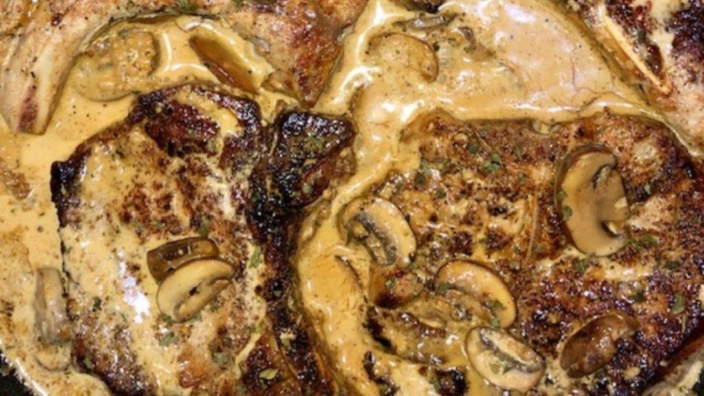 garlic pork chops in a mushroom cream sauce