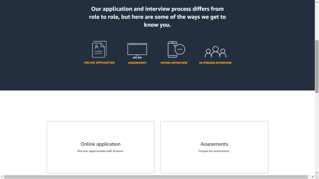 Inside the interview tips section of your amazon jobs profile