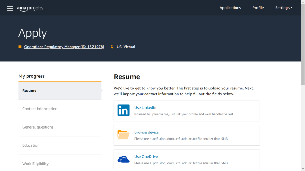 inside your amazon jobs profile and how to apply for a job post