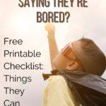 free printable kids activities list