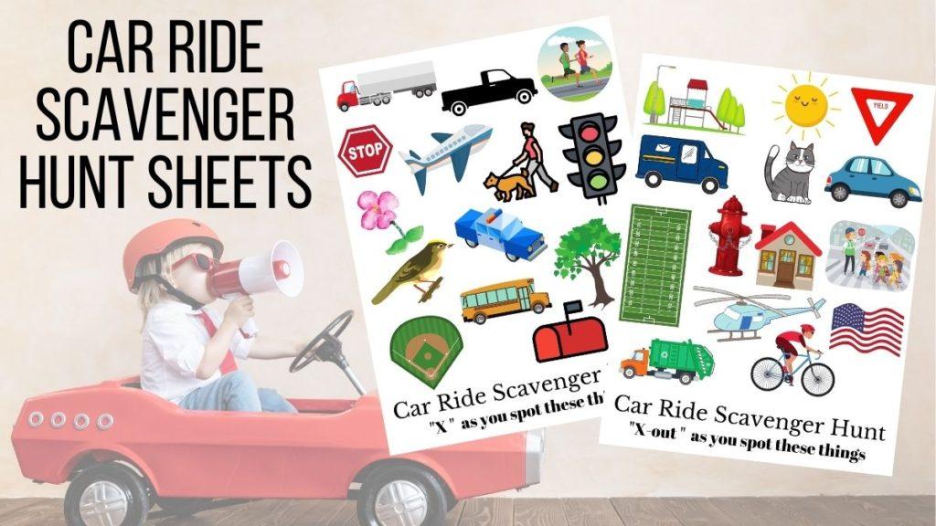 kids car ride scavenger hunt sheets free printables