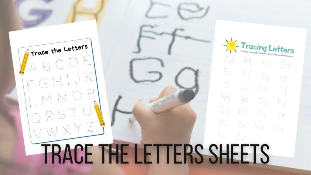 trace letters kids worksheets