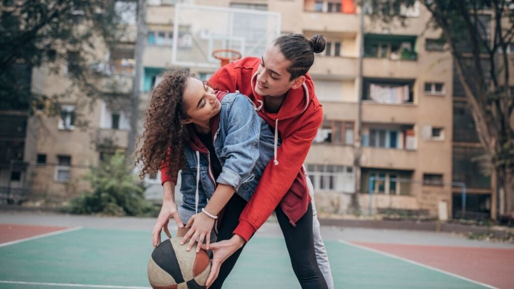 shoot hoops with your significant other - cheap ate night ideas at home